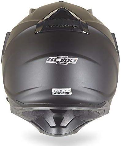 Noir Mat,Taille L NENKI Casque Moto Cross Enduro Adventure avec double visi/ères NK-313,ECE homologu/é