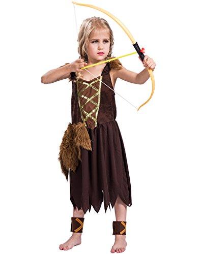 Fantastcostumes Halloween Viking Girl Costume Brown  Medium