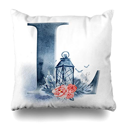 Ahawoso Throw Pillow Cover Floral Watercolor Alphabet Monogram Initial Letter ABC Nature Blossom Brush Design Decorative Cushion Case Square 16