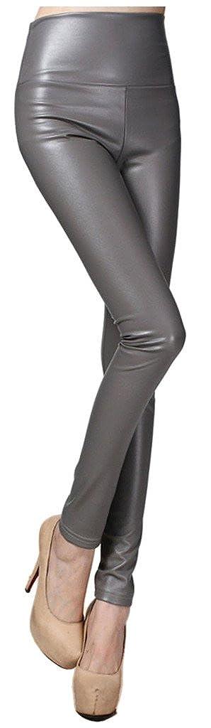Lotus Instyle Taille Haute Simili Cuir /épais Legging Femme Pantalon de Cuir