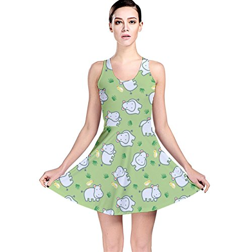 Friendly Hippo (CowCow Green Happy Hippo with Friendly Bird Pattern Reversible Skater Dress,)