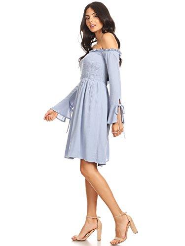 Bodice Womens Dress Knee Smocked Length Sleeve Tunic Off Anna Blue Kaci Long Shoulder w4P5F