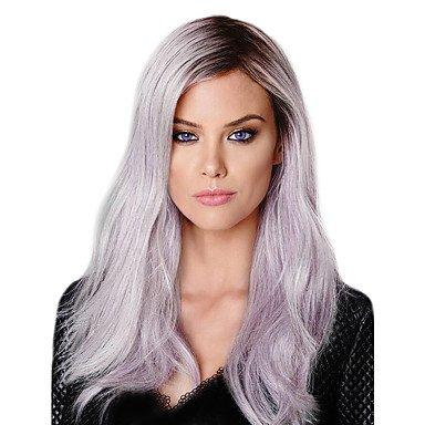 Peluca de encaje sintético frontal larga negra/morada natural peluca disfraz peluca