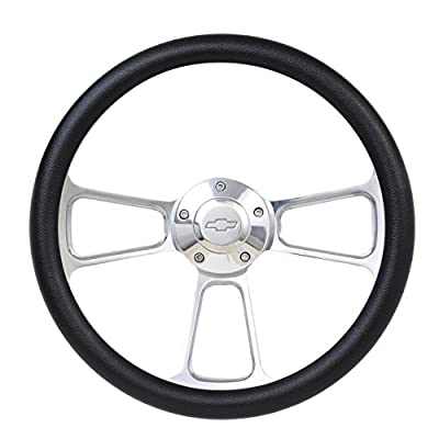 Black Steering Wheel 14 Inch Aluminum with Chevy Installation Adapter and Horn: Automotive