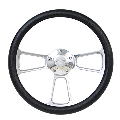 (Black Steering Wheel 14 Inch Aluminum with Chevy Installation Adapter and Horn)