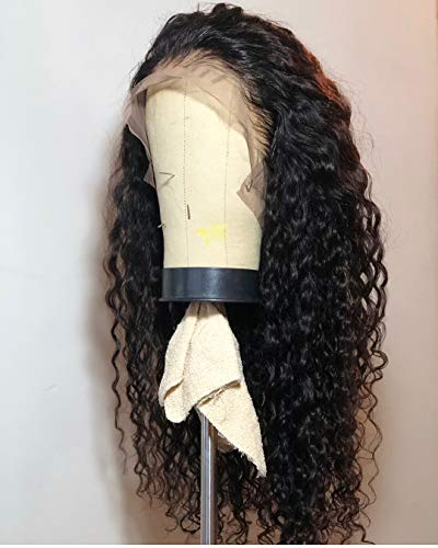 Lucyhairwig Loose Curly Synthetic Lace Front Wig Heat Resistant Fiber Black Hair Lace Front Wig Free Style Synthetic Wigs For Black Women 22 Inch ()