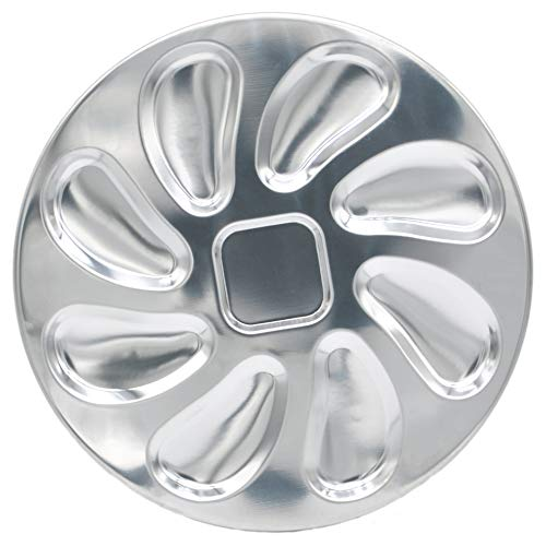 Stainless Steel Oyster Plate for Oysters, Sauce and Lemons, Oyster Shell Shaped, 10 Inch (Platter Serving Oyster)