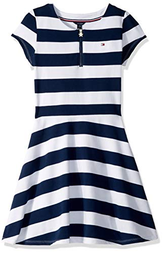 (Tommy Hilfiger Big Girl's Big Stripe Short Sleeve Dress, rugby navy blue, M8/10)