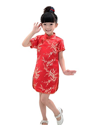 Bitablue Girls Red Chinese Dress with Golden Wintersweet Blossom (8) (Chinese Chinese Dresses Dress)
