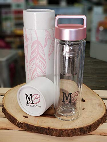 Glass 18oz Tumbler Tea Infuser Water Bottle Pink Lid By MaBella   For Traveling Drinking Water, Juice, Tea, Coffee, Smoothies with Tea Infuser and Strainer (Pink)