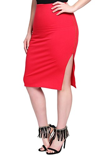 TheMogan Women's Side Zipper Curve Hugging Midi Pencil Skirts Red 3XL
