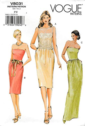 Vogue Sewing Pattern 8031 V8031 Misses Size 18-22 Formal Evening Gown Top Strapless Dress