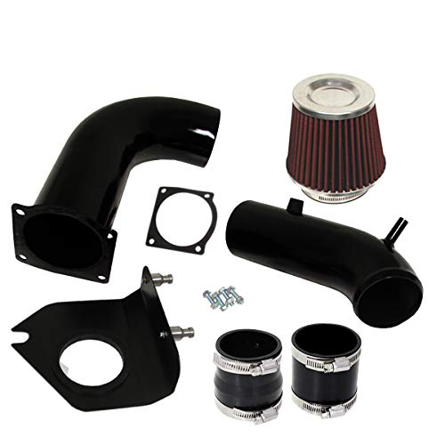 For 1999-2004 Ford Mustang (3.8L V6 Engine Only) 3 Inch Aluminum High Flow Cold Air Intake System Black Pipe with Air Filter Red