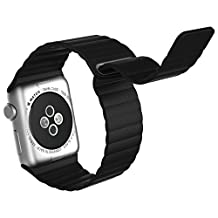 Apple Watch Band, JETech 38mm Genuine Leather Loop with Magnet Lock Strap Replacement Band for Apple Watch 38mm All Models No Buckle Needed (Black) - 2190