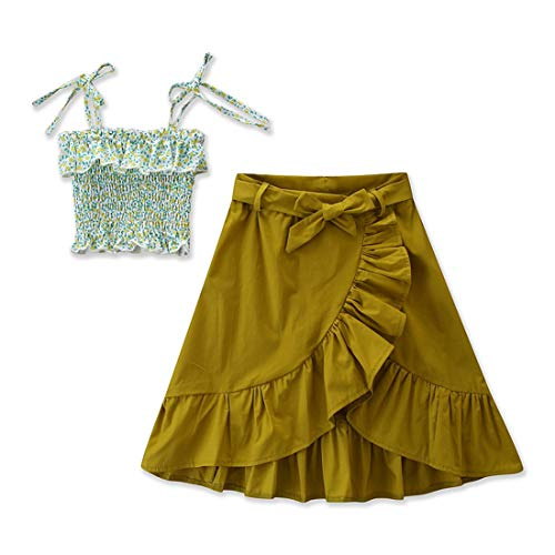Kids Baby Girls Outfits Floral Ruffle Off Shoulder Crop Tops + Bowknot Denim Shorts Skirt Set Toddler Summer Clothes (Green, 6-7 Years) -