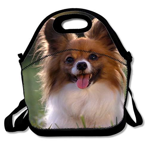 PlayA A Cute Little Papillion Deluxe Lunch Bag with Shoulder Strap for Men Women Kids