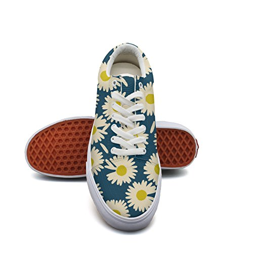 Toxeu Vintage Daisy Floral Lace up Sneakers Canvas Skate Shoes Men Casual ()