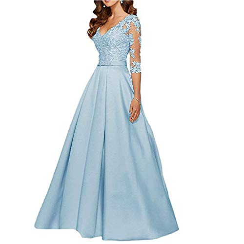 (yuanbaokj Ladies V Neck Long Party Dresses 3/4 Sleeves Satin Floor Length Beaded Formal Evening Gowns)