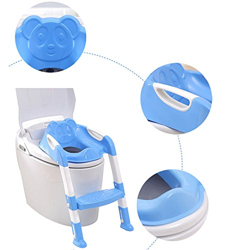 CARESHIN Potty Seat with Ladder Cover Toilet Folding Chair Kid Potty Toilet Seat with Step Stool Ladder (Blue)