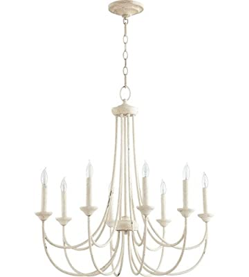 Quorum Lighting 6250-8-70, Brooks 1 Tier Chandelier Lighting, 8LT, 160 Watts, Persian White