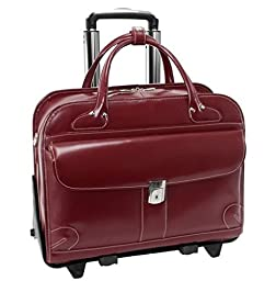 McKleinUSA LAKEWOOD 96616 Red Leather Fly-Through Checkpoint-Friendly Detachable-Wheeled Ladies\' Briefcase