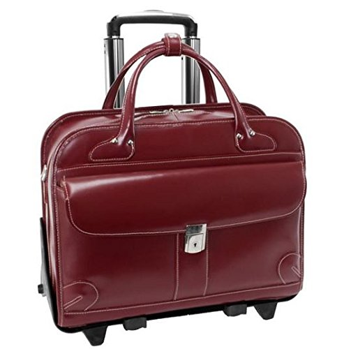 McKleinUSA LAKEWOOD 96616 Red Leather Fly-Through Checkpoint-Friendly Detachable-Wheeled Ladies' Briefcase by McKleinUSA
