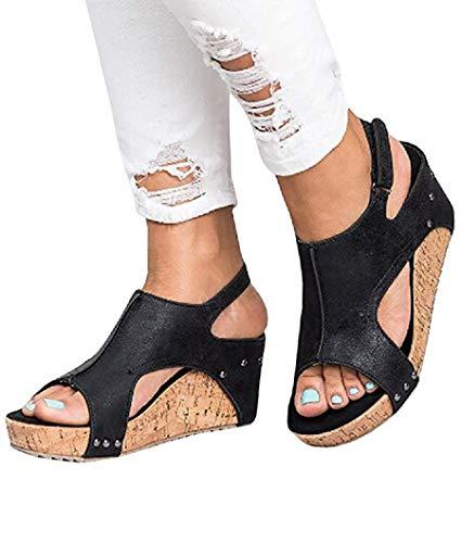 - Ruanyu Womens Wedges Sandals Peep Toe Buckle Rivet Slingback Summer Platform Sandal (9 B(M) US - EU Size 40, Black)