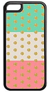 Colorblocked Stripes and Glitter PRINT Polka Dots (Green, Slate, Pink) - Case for the APPLE IPHONE 4, 4s-Hard Black Plastic Outer Case with Tough Black Rubber Lining