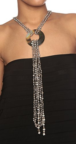 HinsonGayle-Cleopatra-6-Strand-Silver-Gray-Cultured-Freshwater-Pearl-Shell-Lariat-Y-Necklace