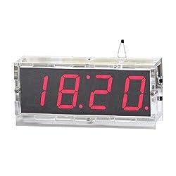 Kunhe DIY Digital Clock Kit 4 Digit LED Electronic Clock Kit Large Screen with Transparent Case LED Red