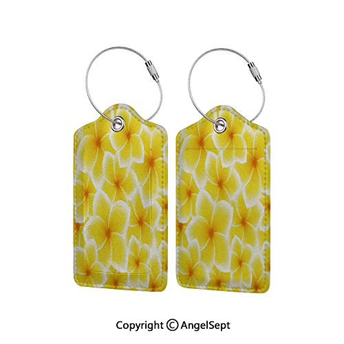 Name ID Labels Set for Travel Travel ID Bag Tag in Many Pattern,Plumeria Frangipani Asian Cute Flower Blossom Pattern Hawaiian Artwork 1 PCS Yellow and White,With Full Privacy Cover w/Steel Loops