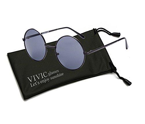 Retro Sunglasses Ultra Lightweight Round Lense Metal Frame for Men Women Unisex VIVIC - Gladiator Glasses