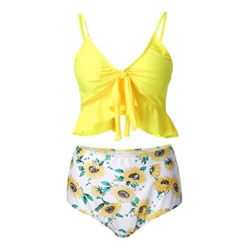 - Women Corrugated Pleated Tube Up One Pieces Bikini Swimwear Set Beachwear Yellow