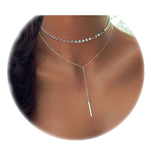 Daycindy Bar Pendant Coin Chain Multi Layer Choker Necklace for Women, 13 Silver