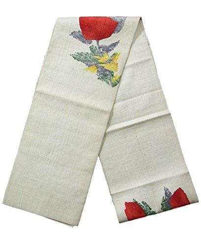 創始者計画同級生リサイクル 名古屋帯 紬 八寸 花のような抽象文様 正絹