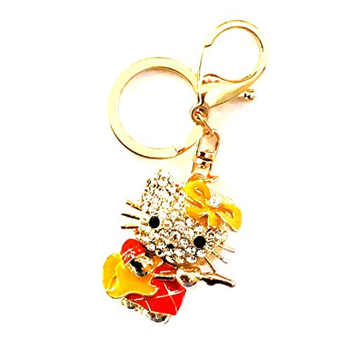 (Hello Kitty Keychain Cat Keychain Car keychain Cute Crystal keyring rhinestone pendant for bag purse car accessories decoration Gift Hello Kitty Accessories)