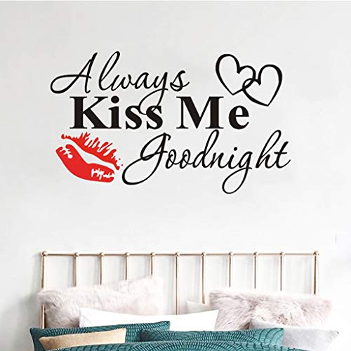 MSOO Always Kiss Me Goodnight Red Lips Wall Sticker Quote Decal Removable Sticker