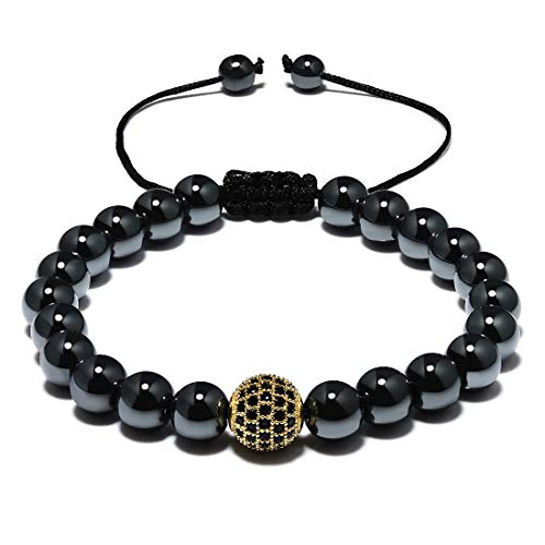 CAT EYE JEWELS Mens Womens Bracelet 8mm Natural Therapy Hematite and Cubic Ziron Ball Bead Adjustable Braided Bracelet H002