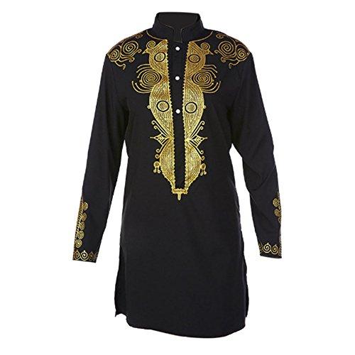 Deylaying Men African Nation Tribal Shirt Printed Long Sleeve Dashiki Clothing