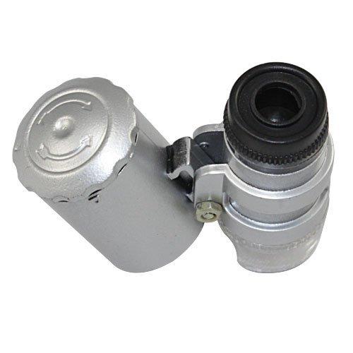NYKKOLA New Silver 60X Loupe Portable Mini Pocket LED UV Light Microscope Magnifier
