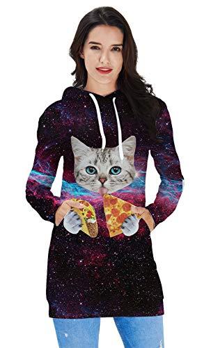 Cat Jumper Dress - ALOOCA Women Funny Galaxy Cat Pizza Pullover Sweatshirt Hoodie Dress with Kangaroo Pocket