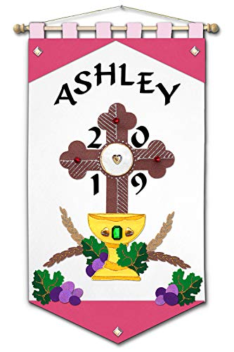 First Communion Banner Kit - 12 x 18 - Cross - Pink]()