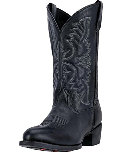 Laredo Boots Black 12 Cowboy - Laredo Men's 12'' Birchwood Western Embroidered Round Toe Cowboy Boots, Black Leather, 15 EW
