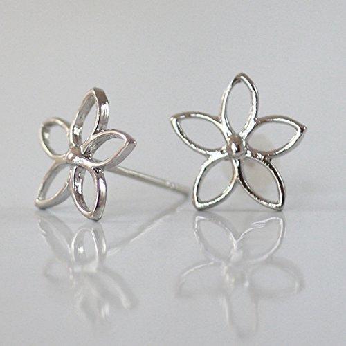 Mm 11 Post Flower (Flower stud earring, Sterlin Silver 925, 11mm Diameter, Handmade Designer)