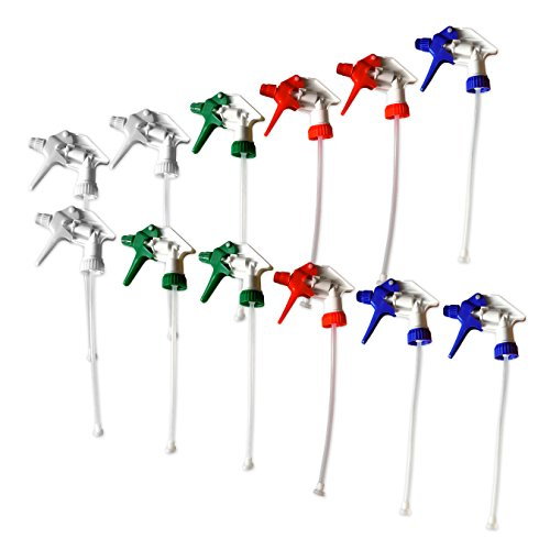 Replacement Industrial Trigger Sprayers (12, For 32 oz bottle, Red, Blue, Green, White)