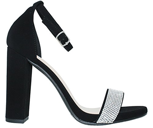 MVE Fashion Nbpu Heeled Chunky Shoes l Sandals Strap Women's Ankle Black EqfzEnxrZ