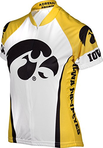 - Adrenaline Promotions NCAA Iowa University Women's Cycling Jersey, Small, White/Yellow