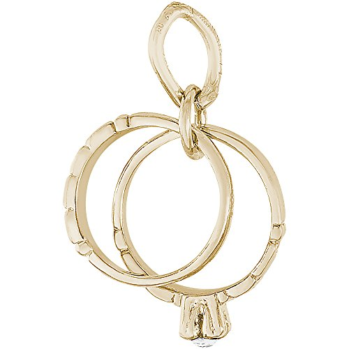 Rembrandt Charms 10K Yellow Gold 3-D Wedding Rings Charm (0.51 x 0.44 (Rembrandt 10k Ring)