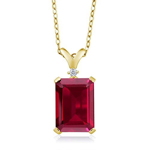 Gem Stone King 8.02 Ct Red Created Ruby Diamond 18K Yellow Gold Plated Silver - Pendant Ruby Emerald