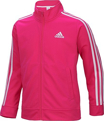 Adidas Girls' Warm Up Tricot Jacket (Pink/White, (Adidas Tricot Logo Jacket)